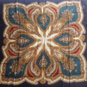 ECHO Club 7 Silk Square Neck Scarf Baroque Pattern